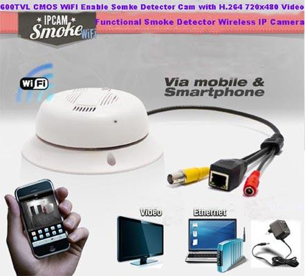 SPY WI-FI SMOKE DETECTOR CAMERA
