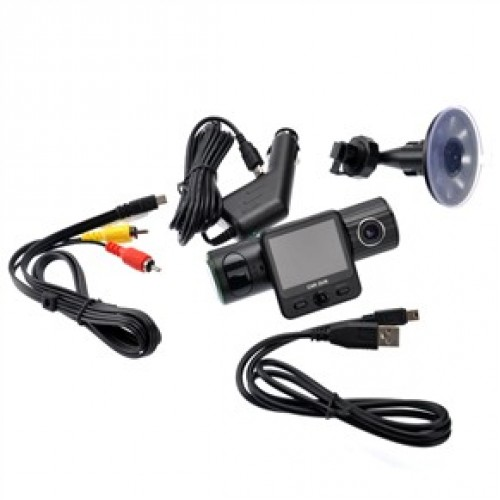 Car Camcorder Dvr With Twistable Night-vision Dual Camera Gps G-sensor